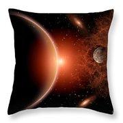 Alien Sunrise On A Distant Alien World Throw Pillow by Mark Stevenson