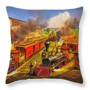 All Aboard The Lightning Express 1874 Throw Pillow by Lianne Schneider