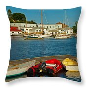 Alls Quiet In The Harbor Throw Pillow by Karol  Livote