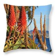 Aloe Vera Bloom Throw Pillow by Mariola Bitner
