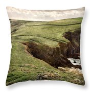 Along The Coast Path Throw Pillow by William Beuther