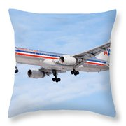 Amercian Airlines Boeing 757 Airplane Landing Throw Pillow by Paul Velgos