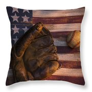 American Baseball Throw Pillow by Garry Gay