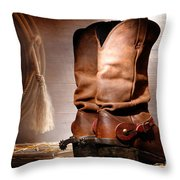 American Cowboy Boots Throw Pillow by Olivier Le Queinec