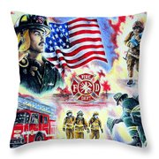 American Firefighters Throw Pillow by Andrew Read