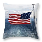 American Flag Blowing In The Wind At Sea Throw Pillow by Jessica Foster