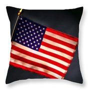 American Flag in Smoke Throw Pillow by Olivier Le Queinec
