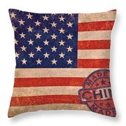 American Flag Made In China Throw Pillow by Tony Rubino
