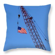 American Flag On Construction Crane Throw Pillow by Olivier Le Queinec
