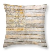 American Flag On Distressed Wood Beams White Yellow Gray And Brown Flag Throw Pillow by Design Turnpike