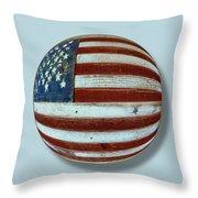American Flag Wood Orb Throw Pillow by Tony Rubino