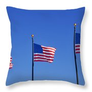 American Flags - Navy Pier Chicago Throw Pillow by Christine Till