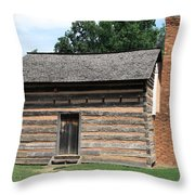 American Log Cabin Throw Pillow by Frank Romeo