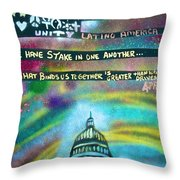 American Rainbow Throw Pillow by Tony B Conscious