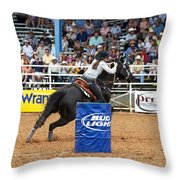 American Rodeo Female Barrel Racer Dark Horse Iv Throw Pillow by Sally Rockefeller