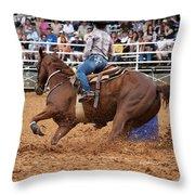 American Rodeo Female Barrel Racer White Blaze Chestnut Horse IIi Throw Pillow by Sally Rockefeller