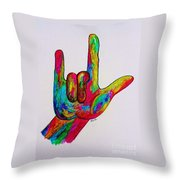 American Sign Language I Love You Throw Pillow by Eloise Schneider