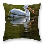 American White Pelican Throw Pillow by Elizabeth Winter