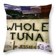 American Whole Tuna Throw Pillow by Jean OKeeffe Macro Abundance Art