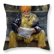 Americana - People - Casually Reading A Newspaper Throw Pillow by Mike Savad