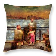 Americana - People - Jewish Families Throw Pillow by Mike Savad