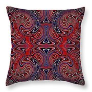Americana Swirl Banner 1 Throw Pillow by Sarah Loft