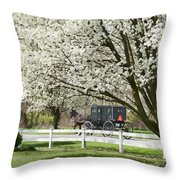 Amish Buggy Fowering Tree Throw Pillow by David Arment