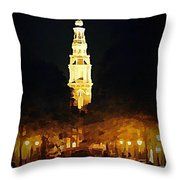Amsterdam Church And Canal Throw Pillow by John Malone