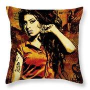 Amy Winehouse 24x36 Mm Reg Throw Pillow by Dancin Artworks
