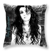 Amy Winehouse Throw Pillow by Barbara Chichester