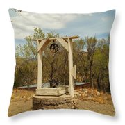 An Old Well In Lincoln City New Mexico Throw Pillow by Jeff Swan