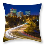Anchorage Skyline Throw Pillow by Inge Johnsson