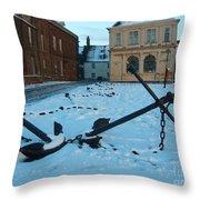 Anchored In Snow Throw Pillow by Derek Knight