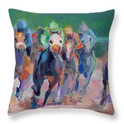 And Down The Stretch They Com Throw Pillow by Kimberly Santini