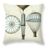 Andre Jacques Garnerins Parachute 1797 Throw Pillow by Science Source