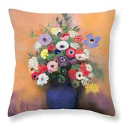 Anemones And Lilac In A Blue Vase Throw Pillow by Odilon Redon