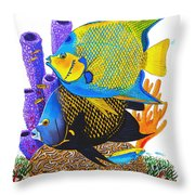 Angel Fish Throw Pillow by Carey Chen