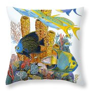 Angel Fish Reef Throw Pillow by Carey Chen