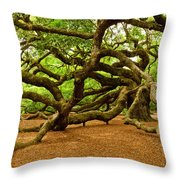 Angel Oak Tree Branches Throw Pillow by Louis Dallara