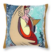 Angel playing for us No1 Throw Pillow by Elisabeta Hermann