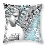 Angelica Hiberna - Angel of Winter Throw Pillow by Christopher Beikmann
