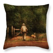 Animal - Dog - A Man And His Best Friend Throw Pillow by Mike Savad