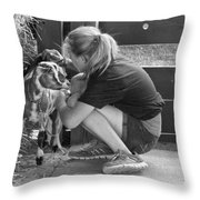 Animal - Goat - A Girl And Her Goat Throw Pillow by Mike Savad