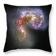 Antennae Galaxies Collide 1 Throw Pillow by The  Vault - Jennifer Rondinelli Reilly