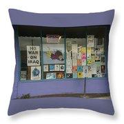 Anti-iraq War Posters 4th Avenue Book Store Window Tucson Arizona 2000 Throw Pillow by David Lee Guss