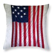 Antique American Flag Throw Pillow by Olivier Le Queinec