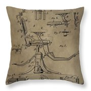 Antique Dental Chair Patent Throw Pillow by Dan Sproul