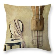 Antique Dress Form And Chair With Vintage Feeling Throw Pillow by Sandra Cunningham