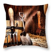 Antique Gardening Tools Throw Pillow by Olivier Le Queinec