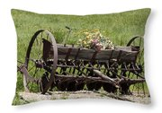 Antique Horse Drawn Seeder Throw Pillow by Daniel Hebard